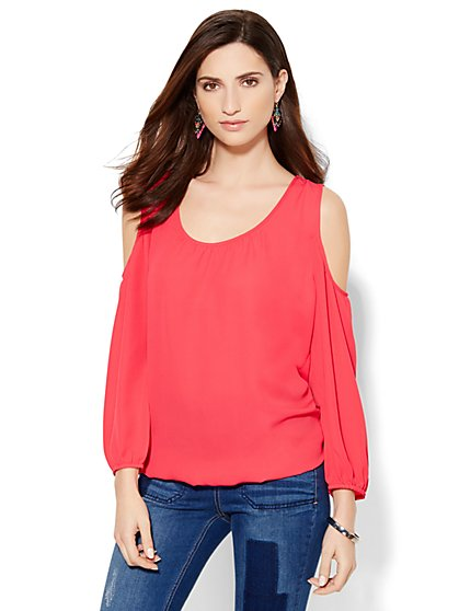Soho Jeans - Cold-Shoulder Blouse - New York & Company