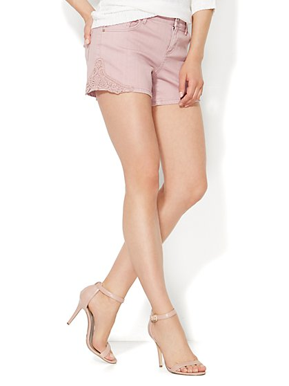 Soho Jeans Crochet-Trim Short - New York & Company
