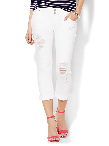 Soho Jeans Crop Boyfriend - Optic White  - New York & Company