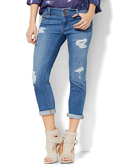 Soho Jeans Crop Boyfriend - Razor Blue Wash  - New York & Company