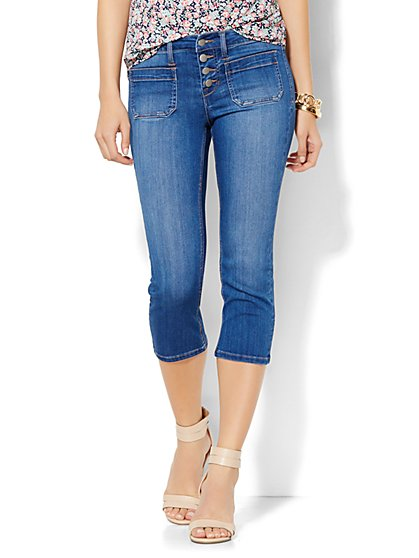 Soho Jeans Crop Legging - Indigo Blue Wash  - New York & Company