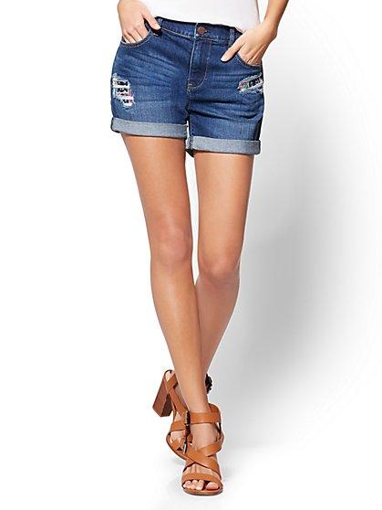 Soho Jeans - Cropped Boyfriend Short - Rip & Repair - Force Blue Wash - New York & Company