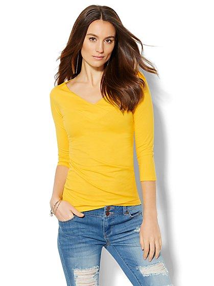 Soho Jeans - Crossover Knit Top  - New York & Company