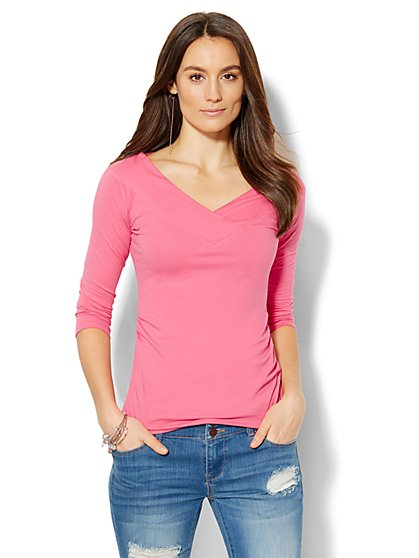 Soho Jeans - Crossover Knit Top  - New York & Company