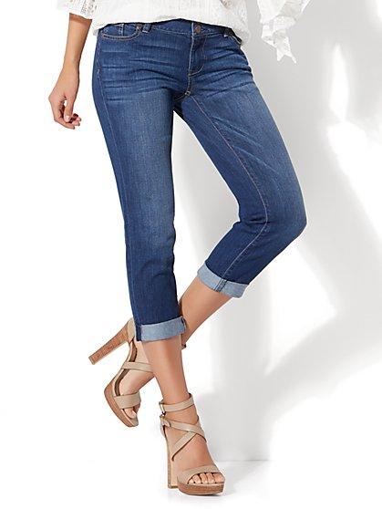 Soho Jeans - Cuffed Cropped Boyfriend - Force Blue Wash - New York & Company