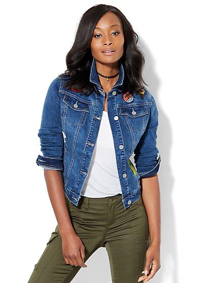 Soho Jeans - Denim Jacket with Patches - Goldstone Blue Wash  - New York & Company