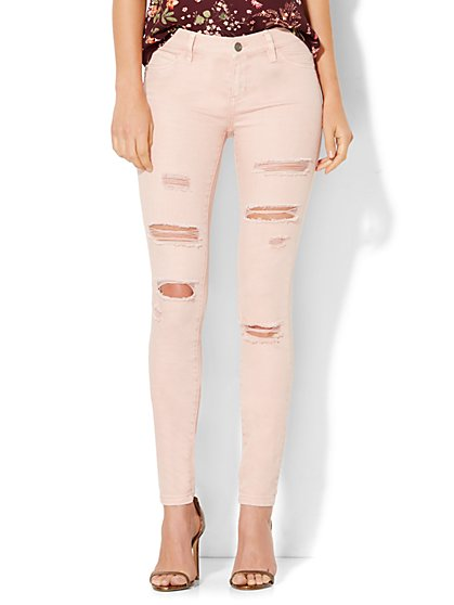 Soho Jeans - Destroyed 5-Pocket Legging - Soft Rose  - New York & Company