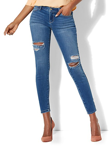 Soho Jeans - Destroyed Ankle Legging - Blue Society Wash - New York & Company