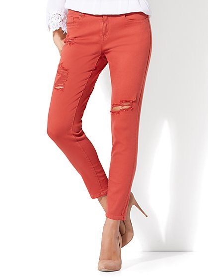 Soho Jeans - Destroyed Ankle Legging - Red Spice - New York & Company
