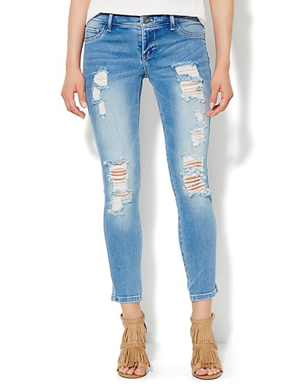Soho Jeans - Destroyed Ankle Legging - Sanded Blue Wash  - New York & Company