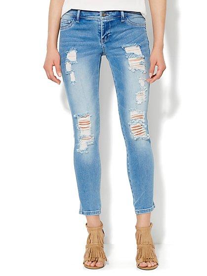 Soho Jeans - Destroyed Ankle Legging - Sanded Blue Wash  - New York & Company