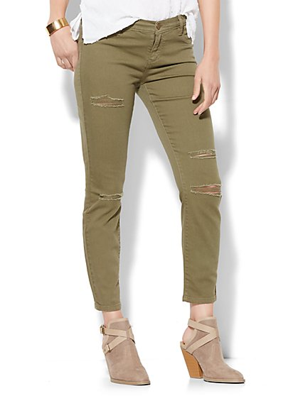 Soho Jeans Destroyed Ankle Legging - Union Square Green  - New York & Company