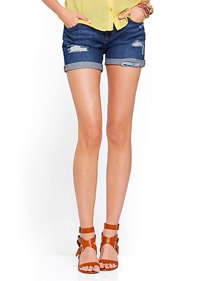 Soho Jeans - Destroyed Boyfriend Short - Babe Blue Wash - New York & Company