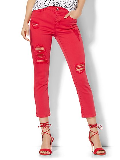 Soho Jeans Destroyed Crop SuperStretch Legging - Red Escapade  - New York & Company