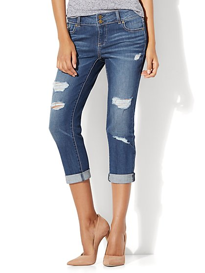 Soho Jeans - Destroyed Cropped Boyfriend - Blue Crazy Wash - New York & Company