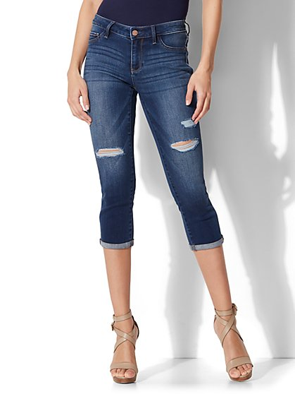Soho Jeans - Destroyed Curvy Cropped Legging - Force Blue Wash - New York & Company