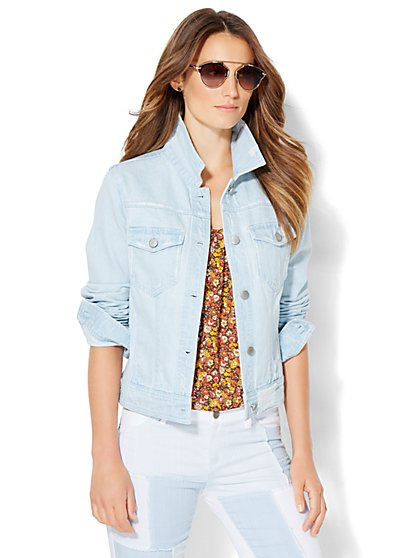 Soho Jeans - Destroyed Denim Jacket - Icy Blue Wash  - New York & Company