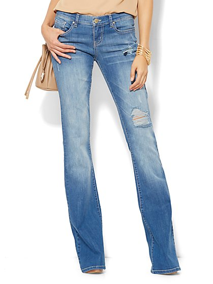 Soho Jeans - Destroyed Flare - Medium Seaside Wash - New York & Company