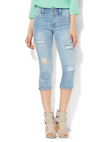 Soho Jeans - Destroyed High-Waist Crop Legging - Tidal Blue Wash  - New York & Company
