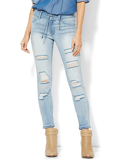 Soho Jeans - Destroyed High-Waist SuperStretch Legging - Diamond Blue Wash  - New York & Company