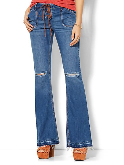 Soho Jeans - Destroyed Lace-Up Flare - Theatrical Blue Wash  - New York & Company
