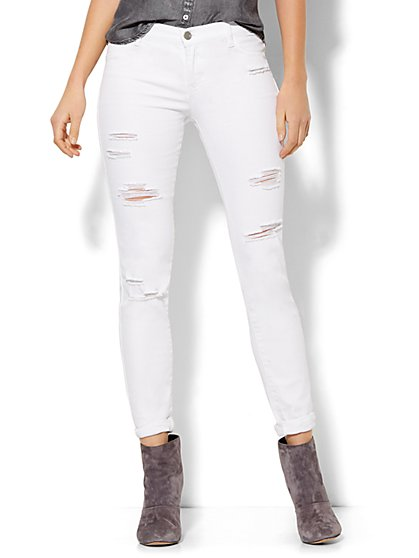 Soho Jeans - Destroyed Legging - Optic White  - New York & Company