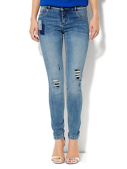 Soho Jeans Destroyed Legging - Rip & Tear Blue - Average - New York & Company