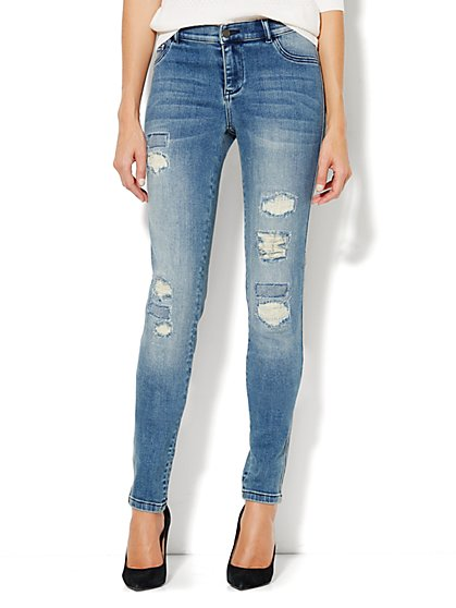 Soho Jeans Destroyed Legging - Rip & Tear Blue - Petite - New York & Company