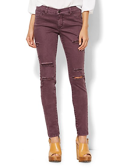 Soho Jeans - Destroyed Legging - True Burgundy - New York & Company