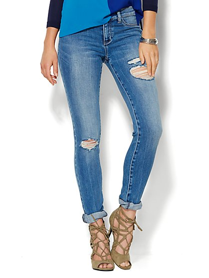 Soho Jeans - Destroyed Legging - Wild Blue Wash - Petite - New York & Company