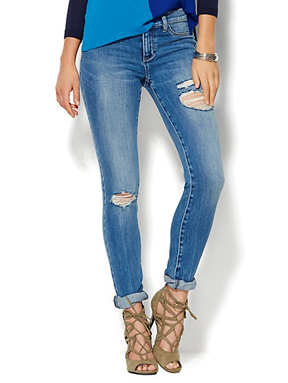 Soho Jeans - Destroyed Legging - Wild Blue Wash - Tall - New York & Company