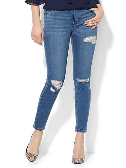 Soho Jeans - Destroyed Power Shaper Ankle Jean - Blue Bandit Wash - New York & Company