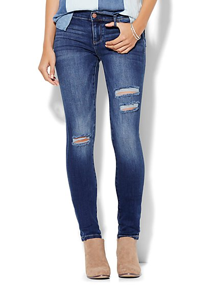 Soho Jeans - Destroyed SuperStretch Legging - Force Blue Wash - Petite  - New York & Company