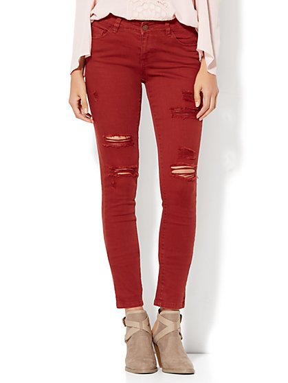 Soho Jeans - Destroyed SuperStretch Legging - Red  - New York & Company