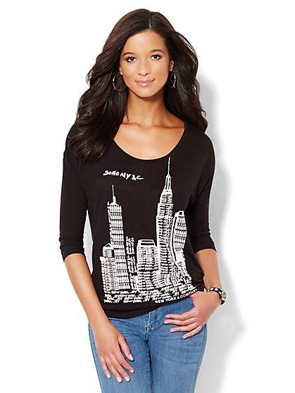 Soho Jeans Dolman-Sleeve Tee - New York & Company
