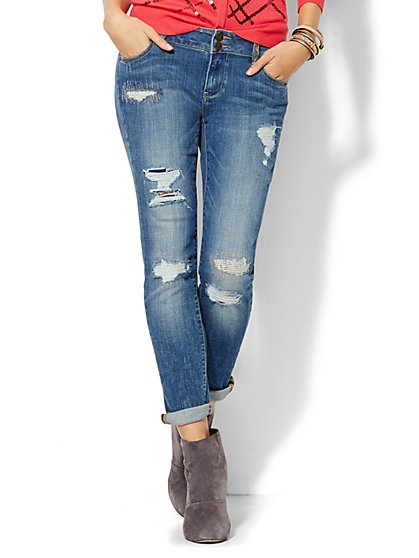 Soho Jeans - Embellished Boyfriend - Indigo Blue Wash  - New York & Company