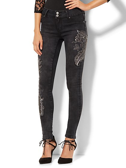 Soho Jeans - Embellished High-Waist Legging - Black - New York & Company