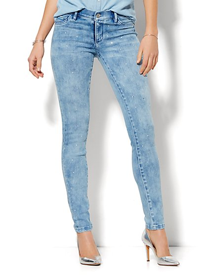 Soho Jeans - Embellished  Legging - Indigo Blue Wash  - New York & Company