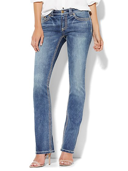 Soho Jeans - Embroidered Bootcut - Blue Discovery - New York & Company