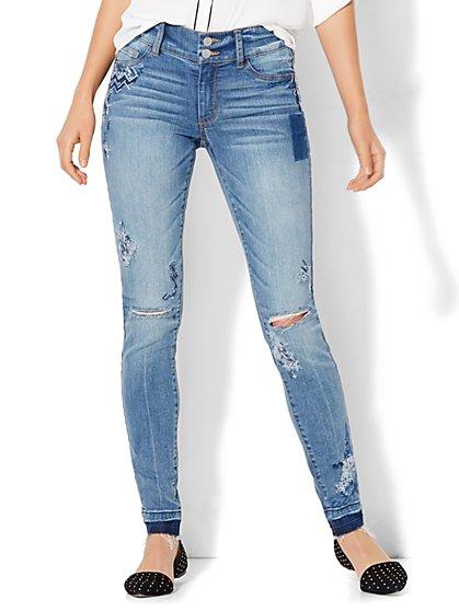 Soho Jeans - Embroidered & Destroyed High-Waist  Superstretch Legging - Indigo Blue Wash  - New York & Company