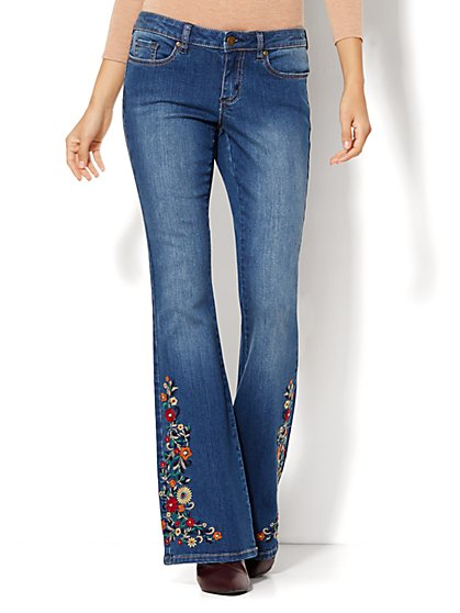 Soho Jeans - Embroidered Flare - Blue Mink Wash  - New York & Company