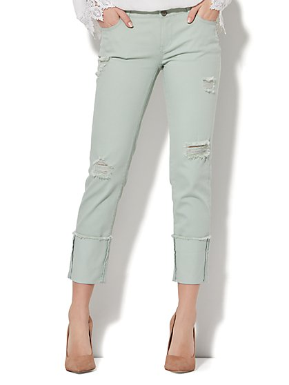 Soho Jeans - Extreme-Cuff Destroyed Boyfriend Jean - Mint Green - New York & Company