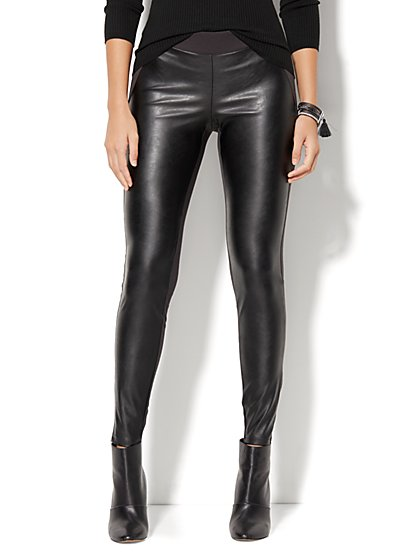 Soho Jeans - Faux Leather-Front High-Waist Legging - Ponte - New York & Company
