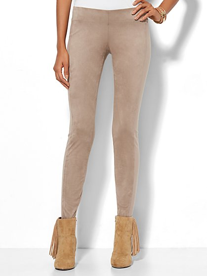 Soho Jeans - Faux-Suede Front Ponte Legging - Espresso - New York & Company