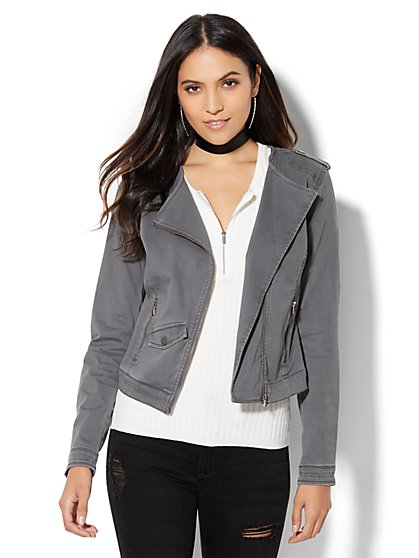 Soho Jeans - Fitted Moto Jacket  - New York & Company