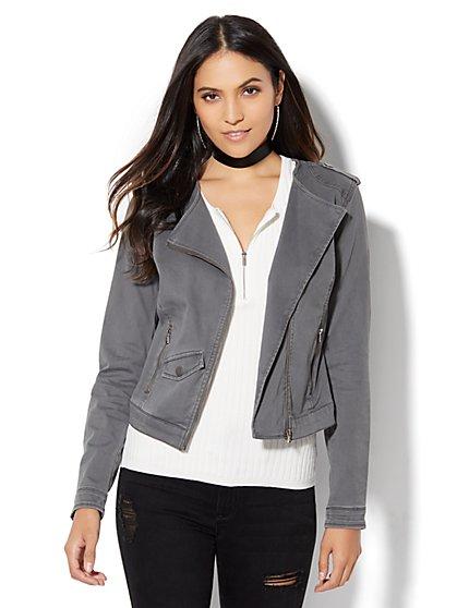 Soho Jeans - Fitted Moto Jacket  - New York & Company