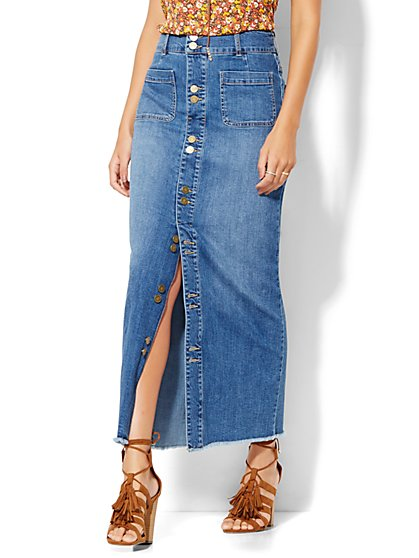 Soho Jeans - Frayed-Hem Denim Maxi Skirt - Cadet Blue  - New York & Company