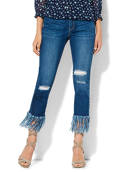 Soho Jeans - Frayed Hem & Destroyed Relaxed Boyfriend - Force Blue Wash  - New York & Company