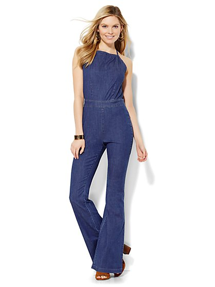 Soho Jeans Halter Jumpsuit - Theatrical Blue Wash  - New York & Company