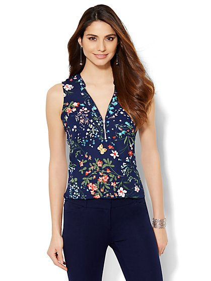 Soho Jeans - Hi-Lo Zip-Front Shell - Floral  - New York & Company
